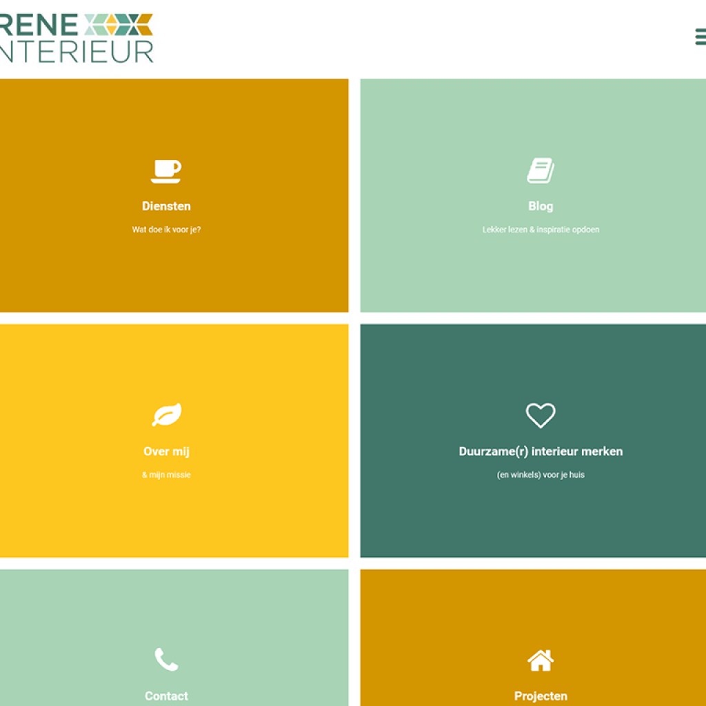screenshot van de homepage van Irene interieur